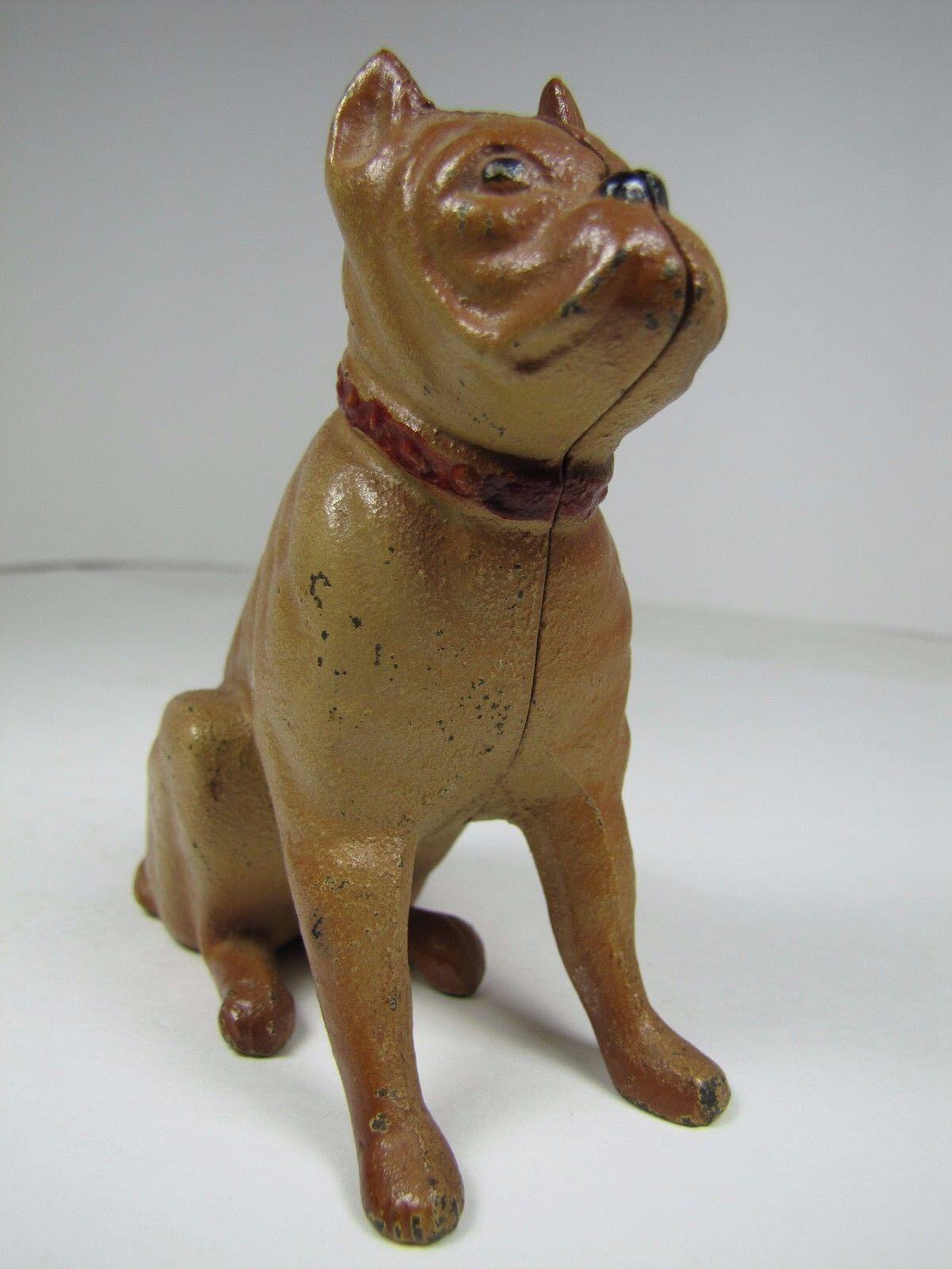 Hierro Fundido Viejo Banco De Perro Boxer Pintura Original todavía Figural Juguete Niños Piggy