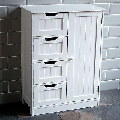 Bathroom 4 Drawer Cabinet Door Storage Cupboard Wooden White By Home Discount