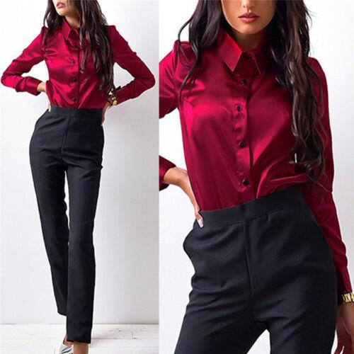 Camicie Button Office Elegant Camicetta donne di High con seta Qualitytops delle Nice di risvolto raso qY4xnv40