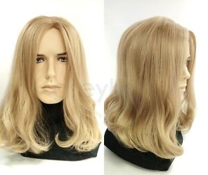 Image Is Loading Mens Dirty Blonde 25 Long Hair Wig Hippie