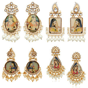 0777d1b8b9766 Details about Jwellmart Indian Bollywood Gold Plated Padmavati Pearl  Earrings Free Shipping