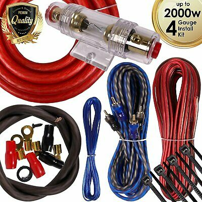 Audiotek 4 Gauge Amp Kit Amplifier Install Wiring Complete 4 Ga Wire 2000W Red