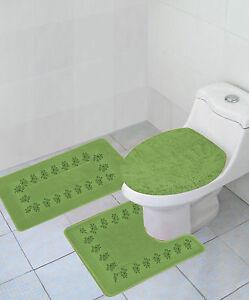 3pc Sage Green Embroidery Banded Bathroom Set Bath Mat