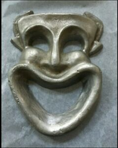 Vintage-Metal-Sculpture-Jester-Clown-Face-Artist-Signed-Tom-Clayton-Unique