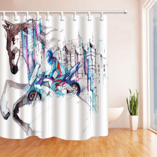 Creative horse Bathroom Decor Shower Curtain Waterproof Fabric w//12 Hook 71*71in