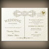 10 wedding/evening invitations Vintage Postcard white/ivory hammered card