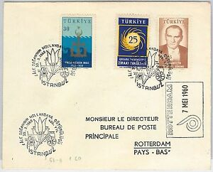 TURKEY-POSTAL-HISTORY-COVER-with-special-postmark-FLOWERS-1960