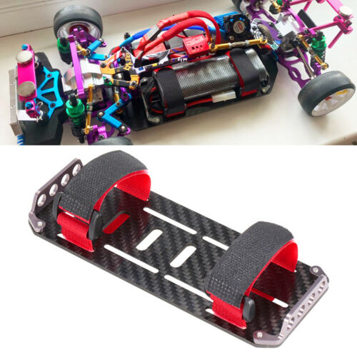 Carbon Fiber Battery Mounting Plate Tray Ties For 1//10 Crawler RC Axial SCX10