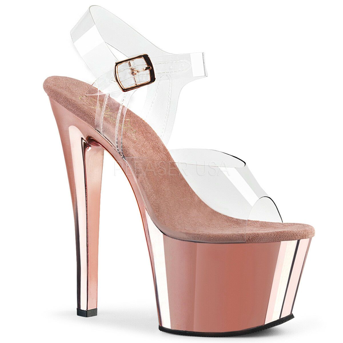 PLEASER SKY-308 CLEAR pink gold PLATFORM POLE DANCING STILETTO SHOES SANDALS