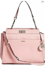 NWT GUESS Janette Medium Logo Embossed Satchel Shoulder Bag Handbag Purse Pink