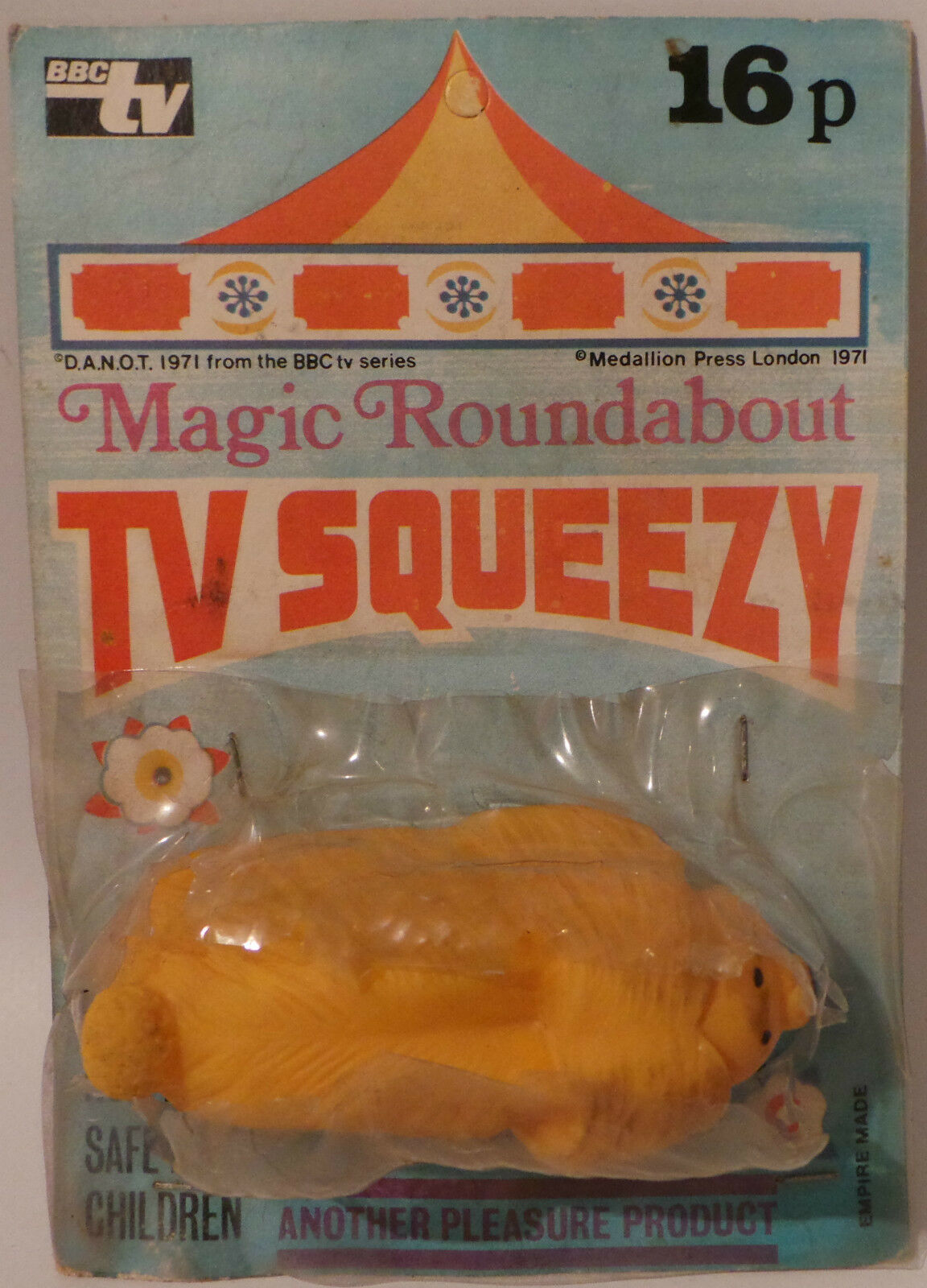 THE MAGIC ROUNDABOUT   VINTAGE DOUGLAS TV SQUEEZY CARDED FIGURE.  (MLFP)