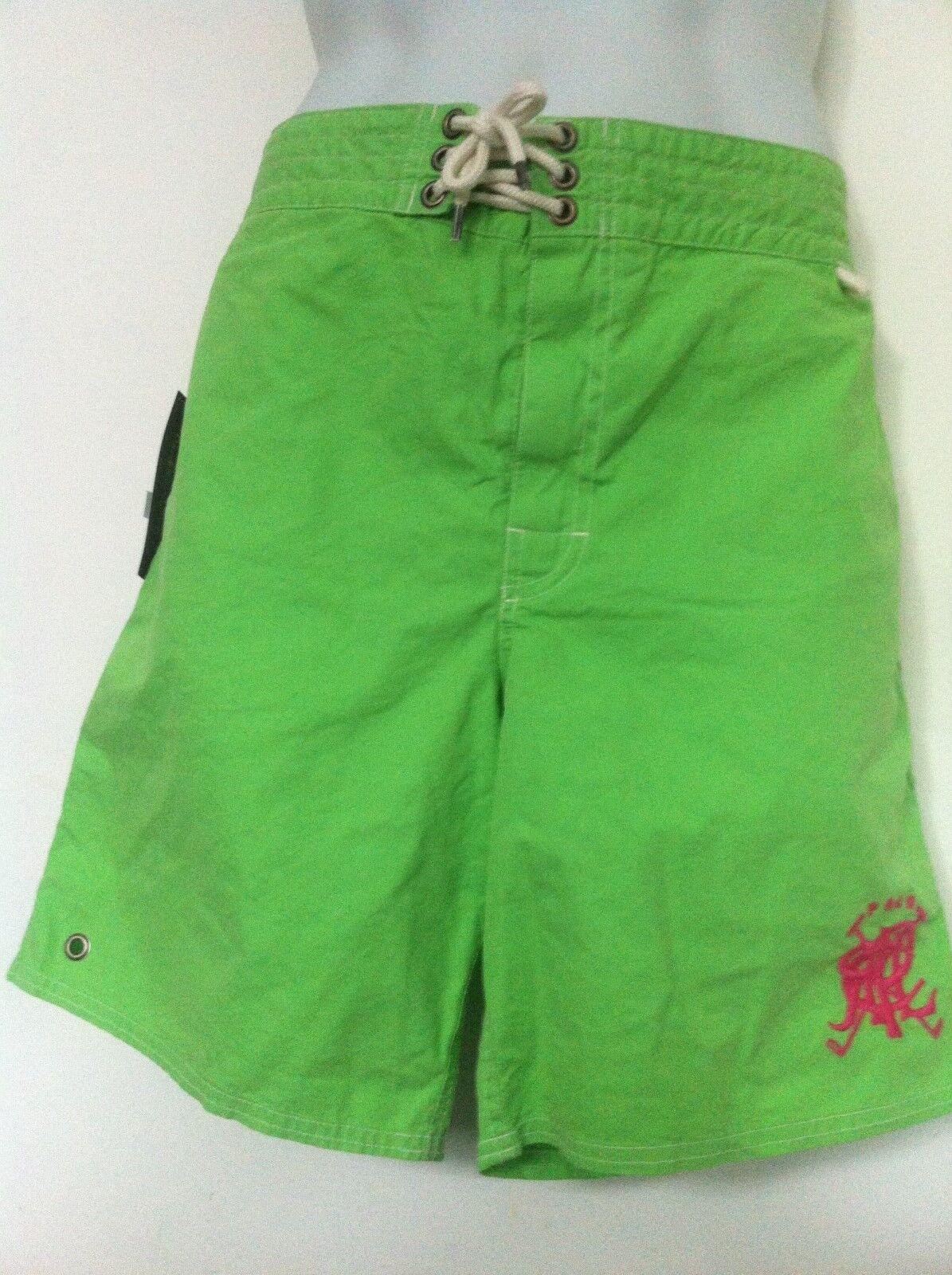 Ralph Lauren Polo Swimtrunks Solid Lime Green w Hot Pink Mallet Logo Size XL NWT