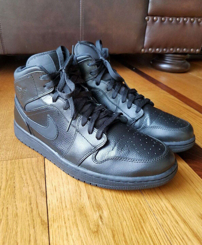 Nike Air Jordan 1 Men's Mid Triple Black High Top Sneakers 554724 030 Comfortable Special limited time
