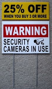 WARNING-SECURITY-CAMERAS-IN-USE-Coroplast-YARD-SIGN-8x12-w-Stake-Security