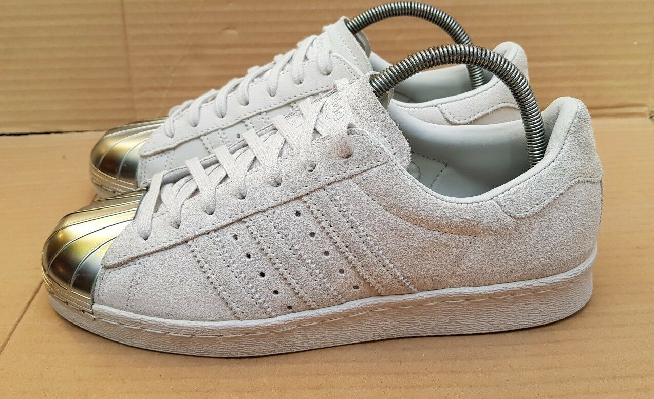 ADIDAS SUPERSTAR 80'S TRAINERS GREY SUEDE SILVER UK METAL TOE IN SIZE 6 UK SILVER STUNNING afca93