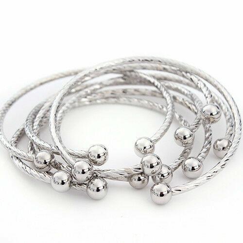 5pcs//lot 1.5//2mm Wire Adjustable Cuff Open Expandable Bracelets Bangles Charms