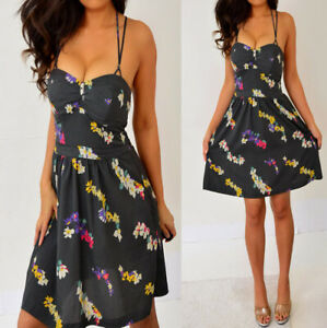 AMERICAN-EAGLE-OUTFITTERS-Gray-Yellow-Pink-Purple-Floral-Babydoll-Mini-Dress-6-S