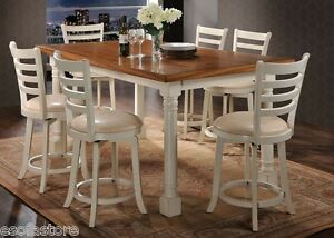 Image Is Loading 7pc Contemporary Counter Height Dining Set Cream PU