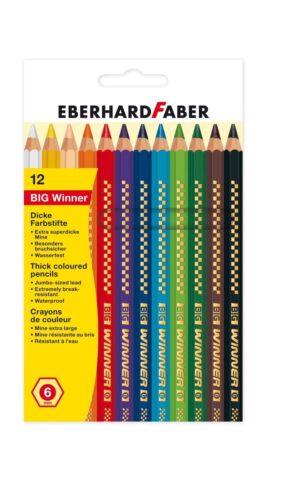 12 Farben  6mm Farbstifte Holz Stift Eberhard Faber BIG WINNER 12er Buntstifte