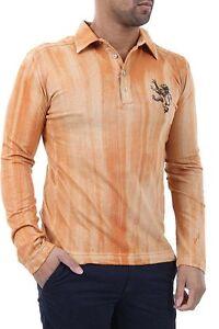 Polo-Uomo-Maniche-Lunghe-T-Shirt-ABSOLUT-JOY-Maglia-A964-Arancione-Tg-L