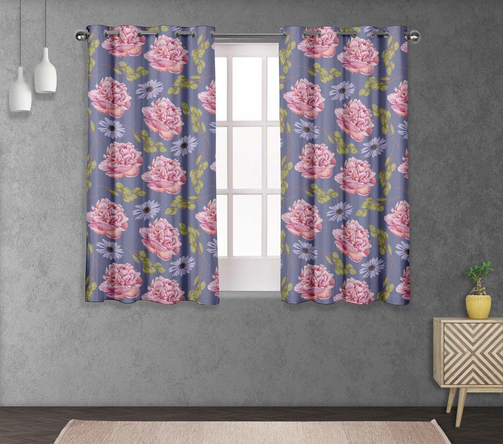 S4sassy Carnation & Daisy Living Room Eyelet Curtain Drapers -FL-857A