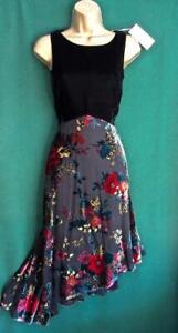 New-MONSOON-UK-16-PRISNA-Black-Velvet-Devore-Asymmetric-Fit-amp-Flare-Party-Dress