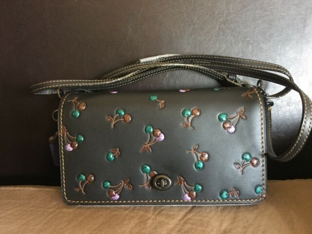 5b0b94636a NWT Coach 24140 Dinky Cherry Print Multi Glovetanned Leather Cross Body Bag