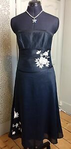 Monsoon-Black-Cocktail-Dress-Strapless-Embroidered-Floral-Size-10-UK-38-EU-6-US