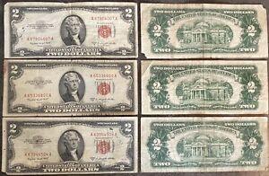 USA 2 Dollar 1953 B United States Note Red Seal Schein 2 US $ Banknote aus Lot