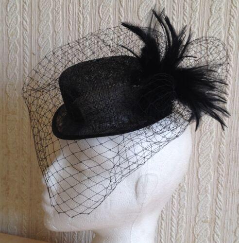 Noir Voile Plumes Sinamay Mini Top Hat Fascinator Millinery fête de mariage