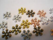 100 SILVER, GOLD, BRONZE,COPPER PLATED 8mm FLOWER SPACER BEADS BARS BRACELET