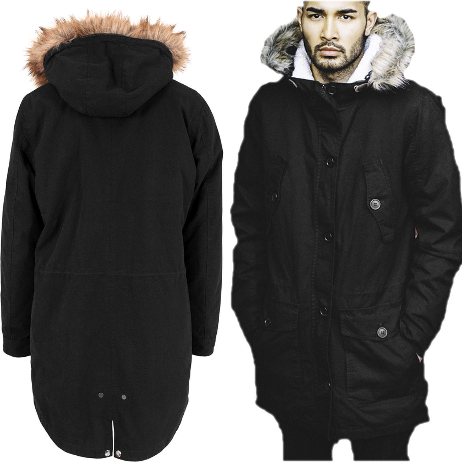 Manteau d hiver en coton Sherpa Line Urban Classics Line avec capuche en fourrure
