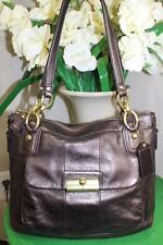 COACH #18808 'Kristin Elevated' Metallic Bronze Leather Shoulder Tote Bag(p1200)
