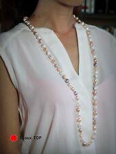 Collier Sautoir Perle de Culture Gros 12mm Baroque Multicolore Blanc Rose TZ
