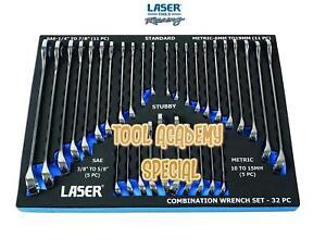 Laser-Tools-SALE-Chrome-Vanadium-Combination-Spanner-Set-In-Foam-32-Pieces