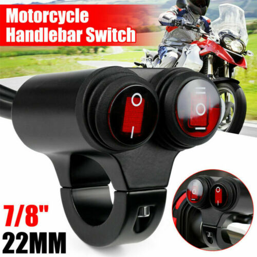 7//8/'/' 22mm Motorcycle Handlebar Headlight Fog Spot Light Dual on off Switch 12V