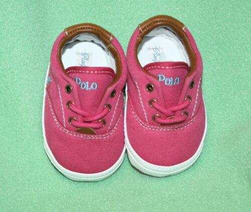 Ralph Lauren Shoes Vaughn Canvas Baby Pink Raspberry Tennis Shoes Laces Gift Box