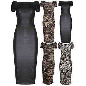 ff9a7374cb Womens Cap Sleeve PVC Bodycon Stretchy Ladies Cowl Neck Animal Print ...