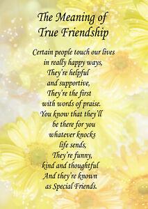 Poem Verse Greeting Card True Friendship Good Friend Ebay