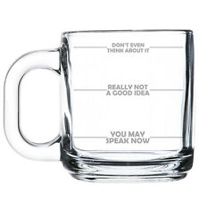 Glass Coffee Tea Mug Cup 10oz Funny Mood Fill Lines Don't Even Think About It