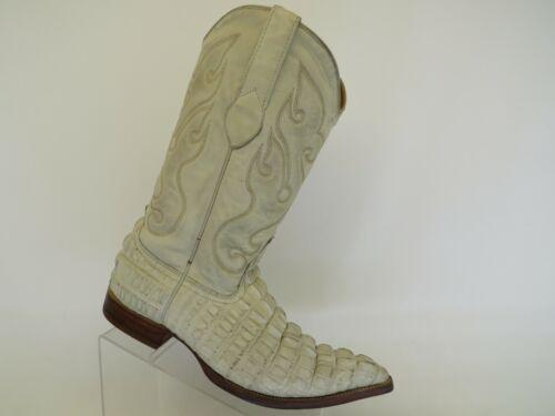Los Altos White Leather Crocodile Cowboy Western B
