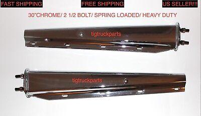 """Chrome 30/"""" Mud Flap Hanger Spring Loaded 2 ½/"""" Bolt Pattern for Semi Truck"""