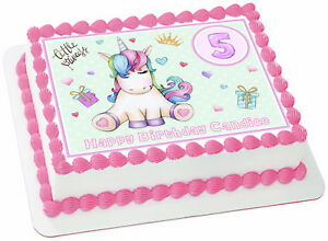 Image Is Loading Princess Unicorn Edible Rectangle Cake Topper Birthday