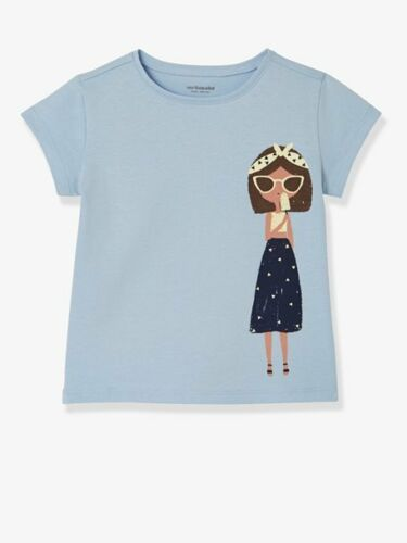 Filles 100/% coton bleu à manches courtes T-shirt avec imprimé graphique Âges 2-8 ans