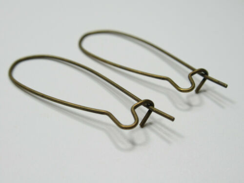 Antique Brass Kidney Ear Wires Loop for Earring Findings 10mm X 35mm Qty 20 pcs