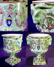 Antique VINTAGE Celadon PORCELAIN Urn RAMS HEAD Handles VASE Cup GOBLET Goat OLD