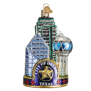 Old-World-Christmas-DALLAS-CITY-20084-N-Glass-Ornament-w-OWC-Box