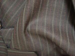 "4.44 yds Luxury Wool Fabric Super Fine Suiting 9.5 oz Charcoal Stripe 160"" BTP"
