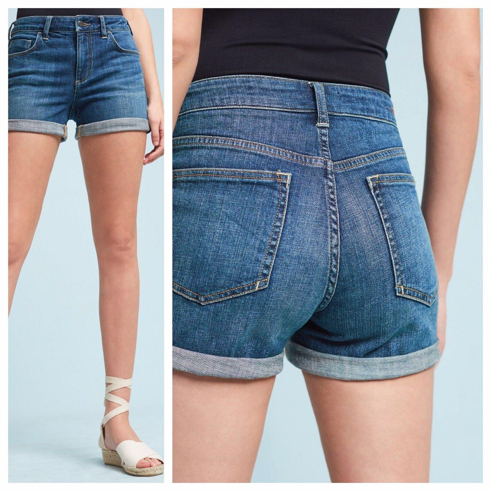 NWT Pilcro Jeans - Denim Script Roll Up Shorts Size 28