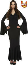 Sexy Womens Vampire Halloween Fancy Dress Costume Morticia Black Scary Spooky